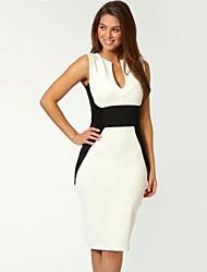 Women's Deep U Dress , Chiffon/Knitwear/Polyester Midi Sleeveless