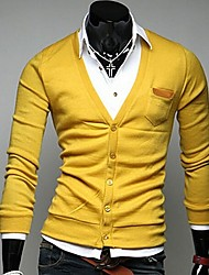Beman dos homens v pescoço fino de manga longa tricô cardigan