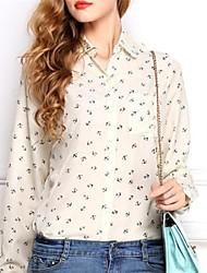 Women's Print White/Black Shirt , Shirt Collar Long Sleeve