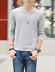 Men's Slim Round Collar Long Sleeve T-Shirts