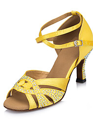 Non Customizable Women's Dance Shoes Latin Satin Flared Heel Yellow