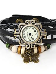 ouso u mulheres do vintage pulseira de couro as mulheres se vestem de relógio
