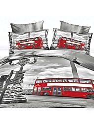 Ailianna 4 Piece 3D HD Digital Gray Print Duvet Set