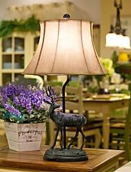 American Style Pays Elk Lampe de table, une lumière, de résines et de parchemin (0099123)