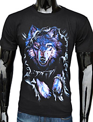 Herren Black Cotton Cool Wolf Bedruckte T-Shirt