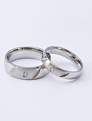 Korea Style Fashion Silver Section CZ Diamond Inlaid Titanium Steel Couple Rings