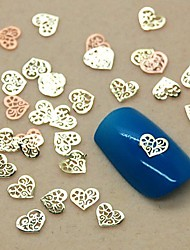 200PCS Hollow Heart Shape Slice Metal Nail Art Decoration