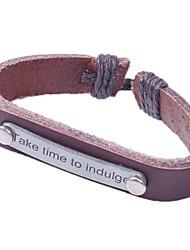 vintage engels brief 24cm mannen bruin lederen ID armband (bruin) (1 stuks)