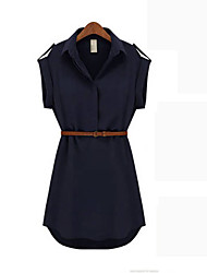 Kathy Loose Large Size Slim Shirt Collar Short Sleeve Chiffon Dress (Khaki,Navy Blue)
