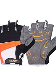 KORAMAN Cycling Orange Protection Pad Anti-skid Black Half Finger Gloves