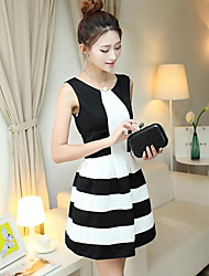 ffl mangas de la manera de contraste de color estipe patrón del algodón del vestido negro de la mujer