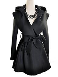 à capuche de couleur solide long manteau des femmes SSMN
