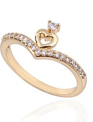 Women's Fashion Delicate Design 18K Gold Zircon Ring