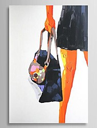 Hand Painted Oil Painting People A Woman Holding A Bag with Stretched Frame