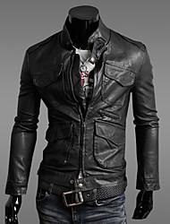 Men's Lapel Neck Sheath Leather Jacket