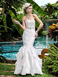 Lanting Fit & Flare Wedding Dress - Ivory Floor-length Strapless Satin