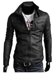 INMUR Black Multi-Zipper Button Closure Stand Collar Solid Color Jacket