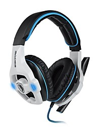 SADES SA903 7.1 Channel Surround Sound Professional Gaming Headset Headphones with Microphone for PC Game (Black/White)