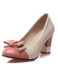 Women's Shoes Patent Leather Spring / Summer / Fall / Winter Heels / Round Toe Heels Casual Chunky Heel Bowknot Blue / Yellow / Pink