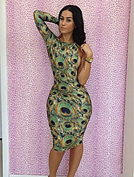 Sexclass Women's Sexy Peocock Printed Backless Bodycon Dress YH023