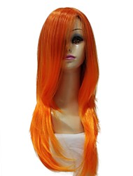 Capless 100% Imported Heat-resistant Fiber Long Straight Orange Lolita Party Wig
