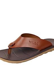 Men's Summer Leather Casual Flat Heel Navy Black Brown Green