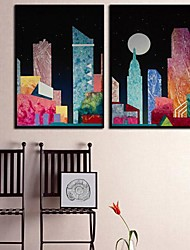 Color Building  Framed Canvas Print Set of  2