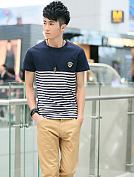 Kajie Men's Korean Cotton Navy T-shirt