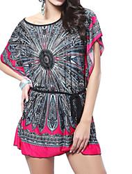 Women's Print Bat-Like Sleeve Slim Dress