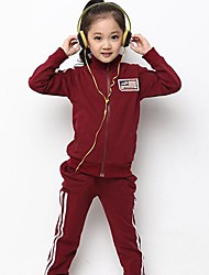 Girl's Fall Wear with Zipper Stand Collar Sweater and Trousers Casual Sports Clothing Sets