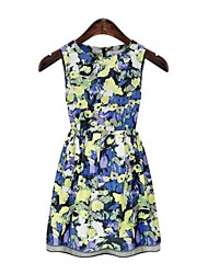 Women's Fashion Sleeveless Floral Cotton Thin Waist Printed Vest Dress