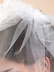 Voiles de Mariée Une couche Voiles Blush Bord coupé 10-20cm Tulle Blanc Ivoire A-ligne, Robe de bal, Princesse, Fourreau, Sirène