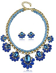 Alloy with Resin and Crystal Jewellery Sets(Including Necklace,Earrings)(More Colors)