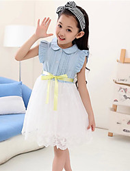 BB&B 2014 Girl's New Lace Jeans Joint Korean Medium Dress