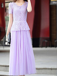 ORG Women's Short Sleeve Lace Long Dress