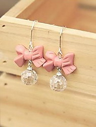 Miss Koko Glittering And Translucent Pink Bow Earrings Drop Earrings Pink