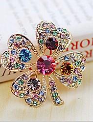 Lucky Doll Women's Elegant Colorful Four Leaf Brooch