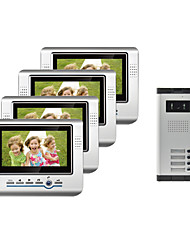 7-Zoll-Farb-TFT-LCD Screen Video Türsprechanlage für 4 Familien Neighbours