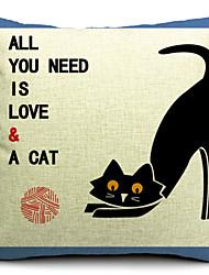 Country Black Cat Cotton/Linen Decorative Pillow Cover