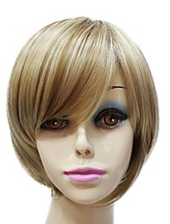 Capless Top Grade Synthetic Short Silky Straight Flaxen Full wig