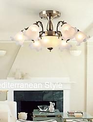 Montagem Embutida Seis Luzes Metal Vidro Bronze Europeu simples moderno