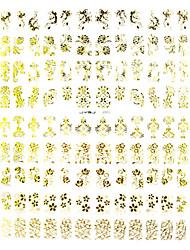 108pcs смешанный цветочный узор золотой металл Nail Art Наклейки