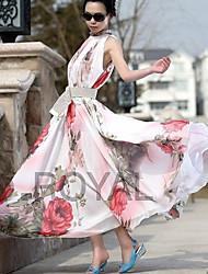 Halter Floral Print de D & D femmes Robe longue