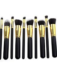 10 Makeup Brushes Set Synthetic Hair Face / Lip / Eye