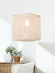 Pendant Lights Beige Square The Cane Makes Up Handwork  Modern Simple