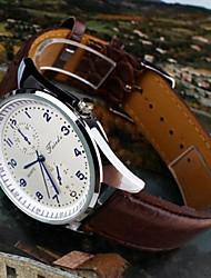 Men's Gentlemen Delicate Generous Waterproof Luminous Leather Wrist Watch