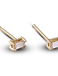 Women's Fashion Rectangle Design 18K Gold AAA Zircon Earrings