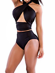 Women's Solid Black Bikini Set, High Waist Sexy Halter