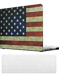American Flag Design PC Hard Case with Keyboard Cover Skin for MacBook Retina