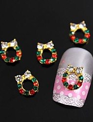 10pcs Xmas Golden Mistletoe Wreath Rhinestones 3D Alloy Nail Art Decoration